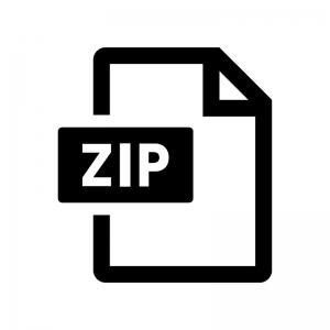 ZIPファイルの白黒シルエットイラスト