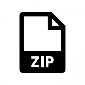 ZIPファイルの白黒シルエットイラスト02