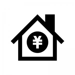 住宅ローンの白黒シルエットイラスト