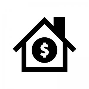 住宅ローンの白黒シルエットイラスト02