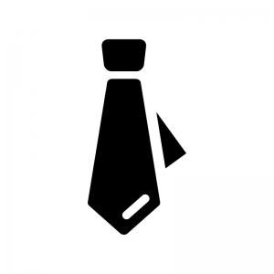 ネクタイの白黒シルエットイラスト03