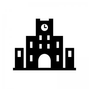 大学の白黒シルエットイラスト