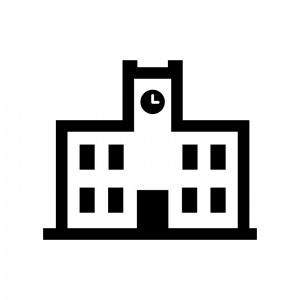 大学の白黒シルエットイラスト04