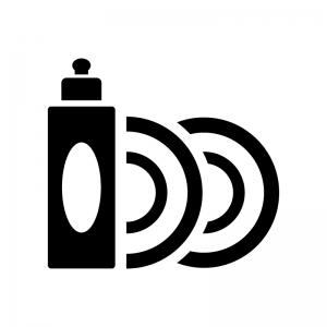 食器用洗剤とお皿の白黒シルエットイラスト