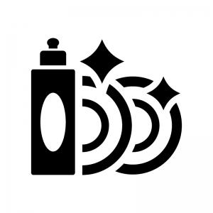 食器用洗剤とお皿の白黒シルエットイラスト02