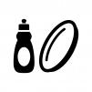 食器用洗剤とお皿の白黒シルエットイラスト03