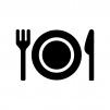 お皿付きの食事マークの白黒シルエットイラスト02