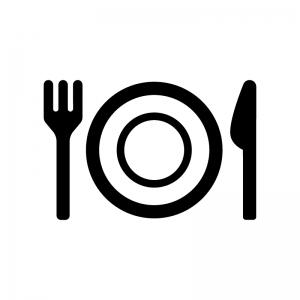 お皿付きの食事マークの白黒シルエットイラスト03