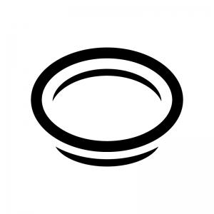 お皿の白黒シルエットイラスト
