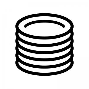 積み重なったお皿の白黒シルエットイラスト03
