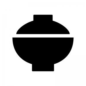 蓋付きのお茶碗・丼の白黒シルエットイラスト