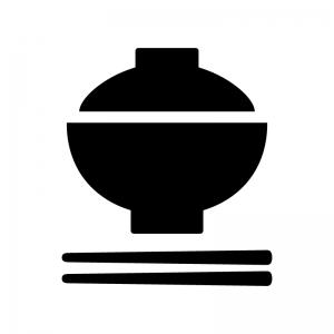 蓋付きのお茶碗・丼の白黒シルエットイラスト02