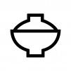 蓋付きのお茶碗・丼の白黒シルエットイラスト03