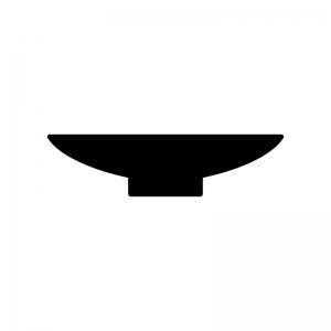 お皿の白黒シルエットイラスト02