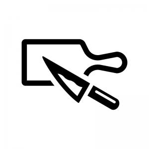 カッティングボードと包丁の白黒シルエットイラスト