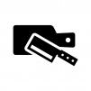 カッティングボードと包丁の白黒シルエットイラスト02