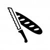 ブレッドナイフとパンの白黒シルエットイラスト