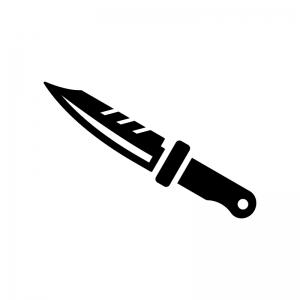 サバイバルナイフの白黒シルエットイラスト