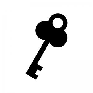 アンティークな鍵の白黒シルエットイラスト02