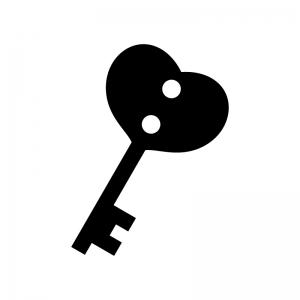ハートの鍵の白黒シルエットイラスト02