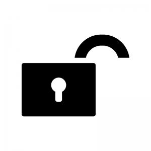 開いた錠の白黒シルエットイラスト