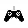 ゲームコントローラーの白黒シルエットイラスト02