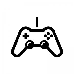 ゲームコントローラーの白黒シルエットイラスト03