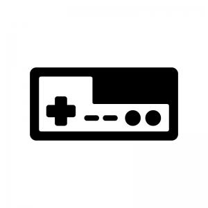 ゲームコントローラーの白黒シルエットイラスト04