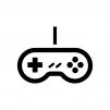 ゲームコントローラーの白黒シルエットイラスト05