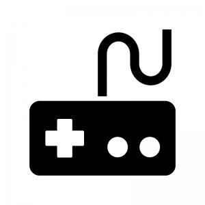 ゲームコントローラーの白黒シルエットイラスト06