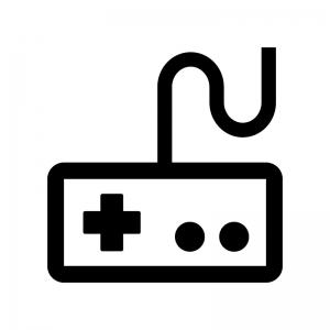 ゲームコントローラーの白黒シルエットイラスト07