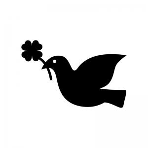 クローバーをくわえた鳩の白黒シルエットイラスト