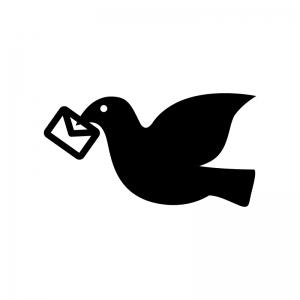 手紙をくわえた鳩の白黒シルエットイラスト