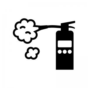 消火器の白黒シルエットイラスト03
