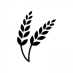 麦穂の白黒シルエットイラスト