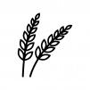 麦穂の白黒シルエットイラスト02