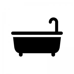 お風呂・バスタブの白黒シルエットイラスト02