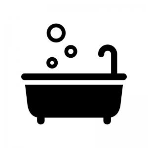 お風呂の白黒シルエットイラスト02