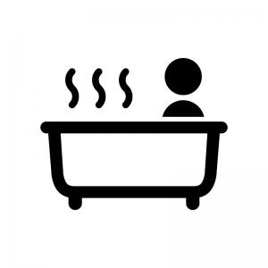 お風呂に入っている人の白黒シルエットイラスト