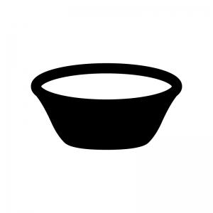 湯桶・洗面器の白黒シルエットイラスト
