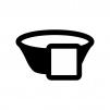 タオルと湯桶・洗面器の白黒シルエットイラスト