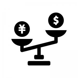 円高ドル安の白黒シルエットイラスト