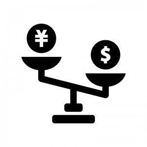 円安ドル高の白黒シルエットイラスト