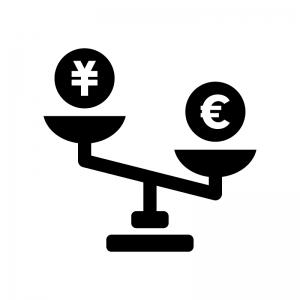 円安ユーロ高の白黒シルエットイラスト