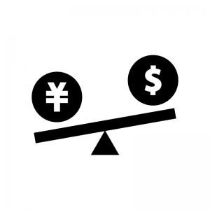 円高ドル安の白黒シルエットイラスト02