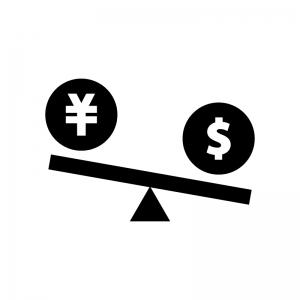 円安ドル高の白黒シルエットイラスト02