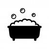 泡のお風呂・バスタブの白黒シルエットイラスト02
