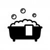 泡のお風呂・バスタブの白黒シルエットイラスト03