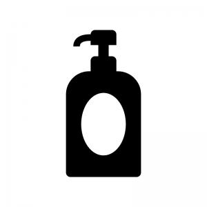 ポンプボトルの白黒シルエットイラスト