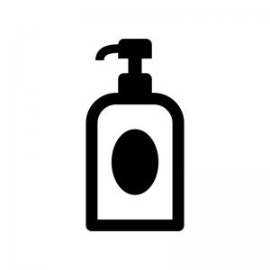 ポンプボトルの白黒シルエットイラスト02
